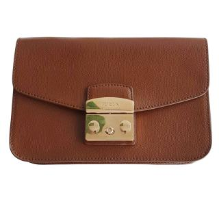 Furla Metropolis brown leather shoulder bag