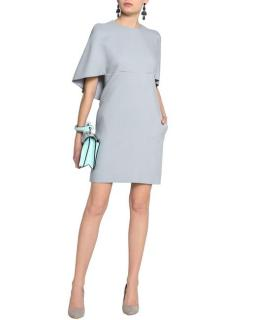 Valentino Blue Cape-effect Wool And Silk-blend Mini Dress