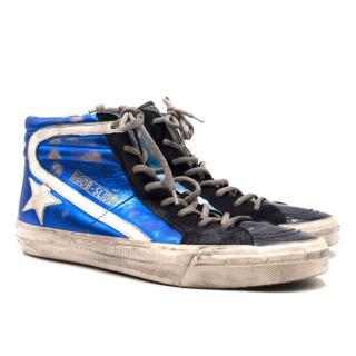 Golden Goose Deluxe Brand Distressed Metallic High-Top Sneakers