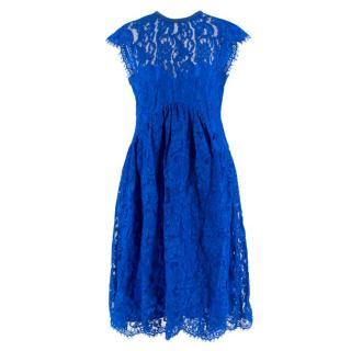 Emilio Pucci V-back blue lace dress