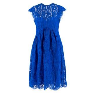 Emilio Pucci V-back blue lace dress