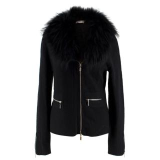 Tania Black Cashmere Cardigan with Fox Fur Collar