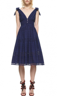 Self Portrait Broderie Anglaise Tie Shoulder Midi Dress