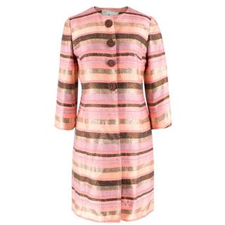 Milly of New York Pink Striped Woven Coat