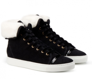 Lanvin Basket shearling-lined suede mid-top trainers