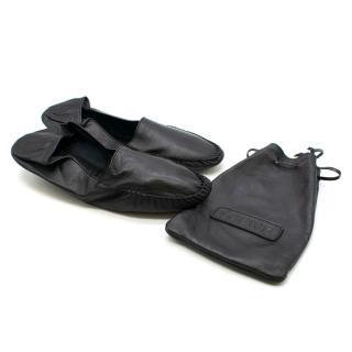 Loewe Black Leather Travel Slippers