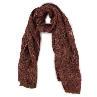 Bespoke embellished tapestry-jacquard scarf