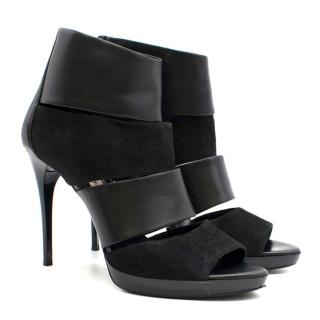 Burberry Black Leather & Suede Cut-Out Heeled Sandals