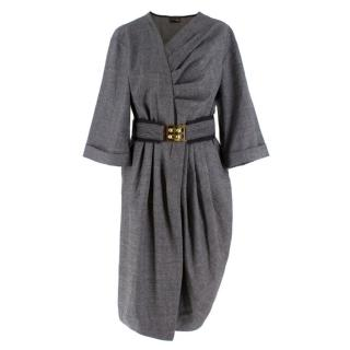 Fendi Grey Wool Pleated Dress