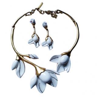 Oscar De La Renta Tulip Cream Necklace and Earrings Set