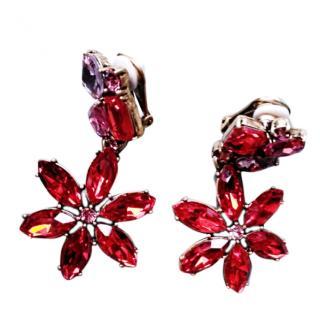 Oscar De La Renta Red Crystal Clip-On Earrings