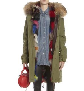 Mr and Mrs Italy Parka with Multicoloured Fox Fur and Racoon Trim
