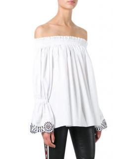 Alexander McQueen White Cotton Off-Shoulder Top
