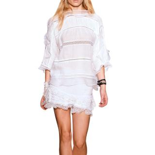Isabel Marant Olympe Ruffle-Trimmed White Pintuck Blouse