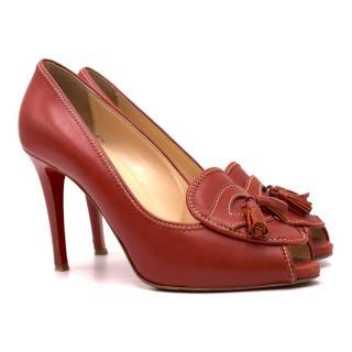 Christian Louboutin Tassel-Trimmed Peep-toe Leather Pumps