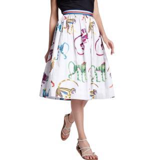 Stella Jean Monkey-Print A-line Skirt