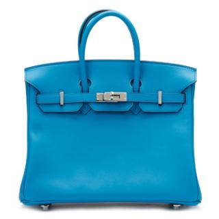 Hermes Blue Zanzibar Swift Leather Birkin 25cm Bag