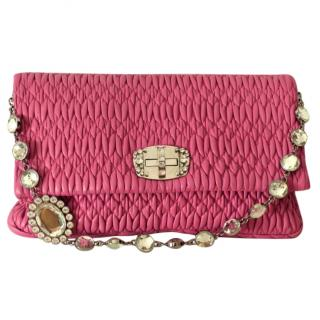Fuxia Crystal-Strap Quilted-Nappa Shoulder Bag