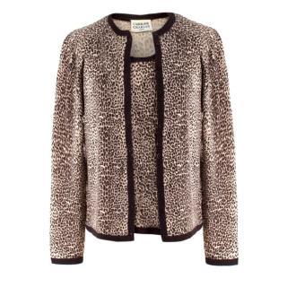 Caroline Charles Leopard Print Wool Cardigan & Vest Two Piece