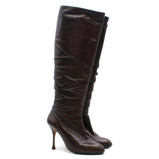 Brian Atwood Brown Leather Knee High Heeled Boots