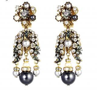 Vicki Sarge Crystal Pearl Statement Earrings