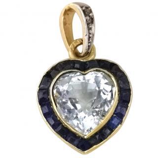 Vintage Rock Crystal Heart Calibre Cut Sapphires 18ct