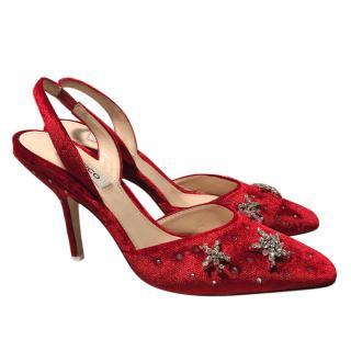 Attico Stars Velvet Red Pumps