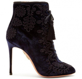 Aquazzura Blue Almaty Embroidered Lace-up Velvet Ankle Boots