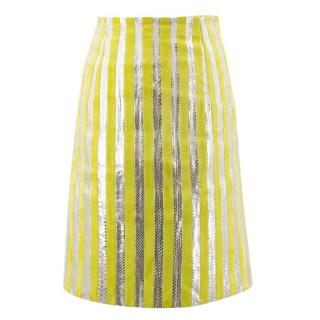 Prada Suede and Snakeskin Striped Pencil Skirt