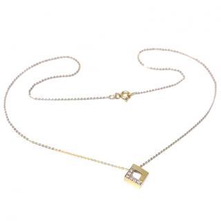 Bespoke Diamond-embellished yellow-gold cube necklace