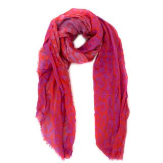 Louis Vuitton Wool & Silk Leopard Print Scarf
