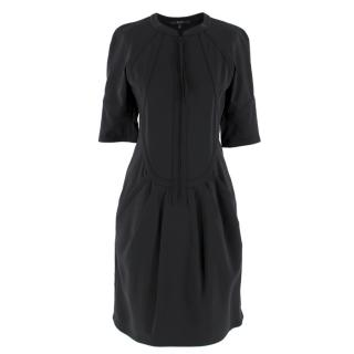 Gucci Silk-Blend Zipped Top Stitch Detail Dress