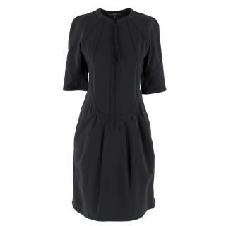 Gucci Silk-Blend Zipped Top Stitch Detail Dress