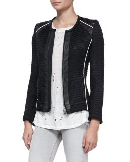 Iro Giana Leather-Trim Knit Jacket