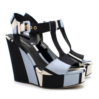 Dolce and Gabbana Blue Striped Canvas Wedge Sandals