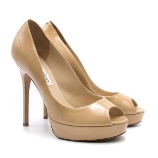 Jimmy Choo Patent Nude Crown Peep Toe Pumps