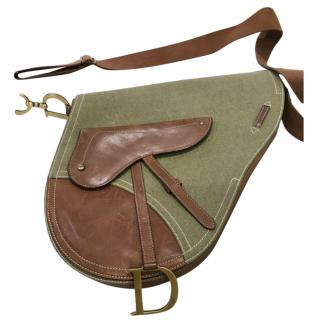 Christians Dior Vintage canvas and leather saddle bag