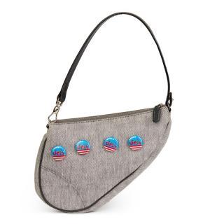 Christian Dior Grey Denim Saddle Bag