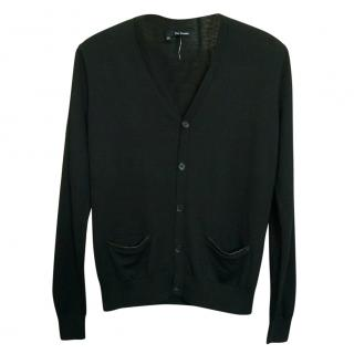The Kooples Black Leather Trim Button-Front Wool Cardigan
