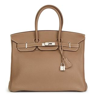 Hermes Etoupe Togo 35cm Leather Birkin Bag