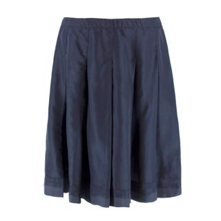 Prada Navy Silk Pleated Skirt