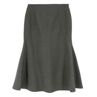 Stella McCartney Grey Wool Fluted Hem Midi Skirt