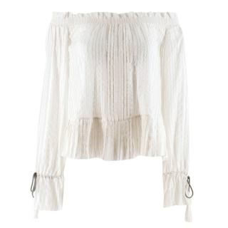 Etro White Striped Off The Shoulder Top