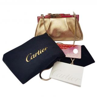 Cartier Panther Gold-Leather Evening Mini Clutch