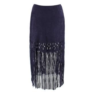e3e3017ab4 Pinko Dark Blue Suede Fringe Skirt
