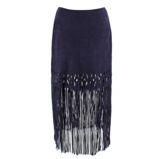 Pinko Dark Blue Suede Fringe Skirt