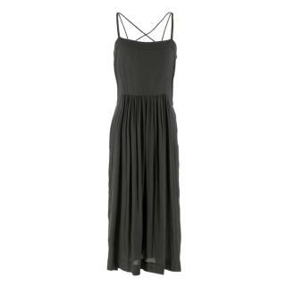 Isabel Marant Charcoal Cross Back Strap Midi Dress