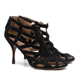 Alaia Black Suede Laser Cut Sandals