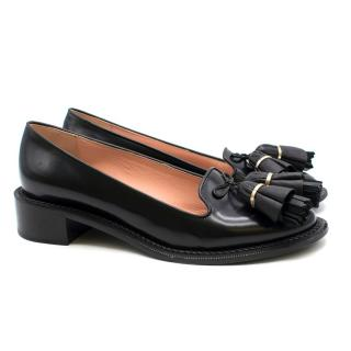 Rochas Black Leather Chunky Tassel Loafers