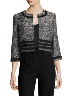 Karl Lagerfeld open-front fringed-trim tweed blazer